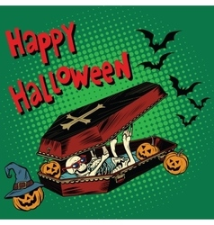 Happy Halloween holiday coffin skeleton evil vector image