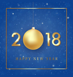happy new year 2018 golden numbers design vector image