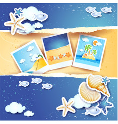 Holidays background with paper elements and photos vector