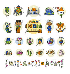 india icons set sketch for your design vector image