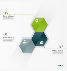 infographic template with 3 hexagons vector image
