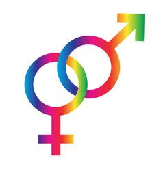 interlocking rainbow male female symbols vector image