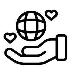 Keep global affection icon outline style vector