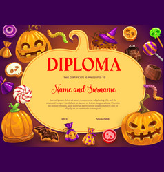 kids diploma halloween sweets and pumpkin vector image