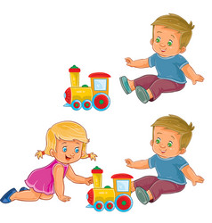 little girl and boy playing with a steam vector image