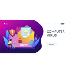 Malware computer virus concept landing page vector