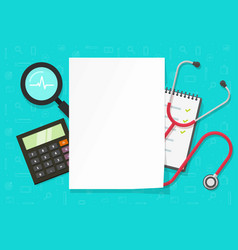 Medical paper document list blank empty on flat vector