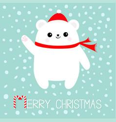 merry christmas candy cane text polar white bear vector image