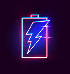 Neon battery icon for your website vector