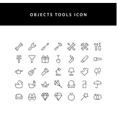 object tool line style icon set vector image