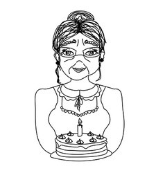 Old lady carry birthday cake vector