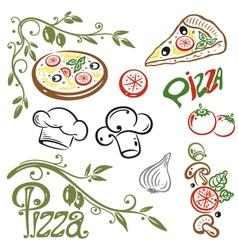 Pizza set italian food vector