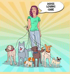 Pop art pretty woman dog walker vector