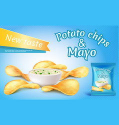 potato chips and mayo in bowl vector image