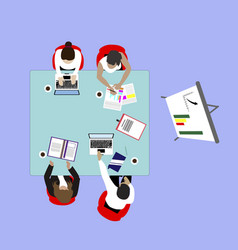 presentation seminar for business team top view vector image