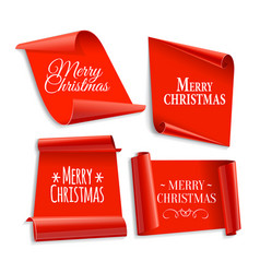 realistic red paper banners set vector image
