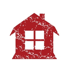 Red grunge house logo vector