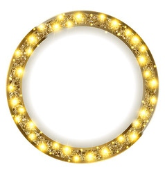 Round gold frame with lights on a light background vector