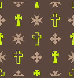 Seamless pattern with christian cross vector