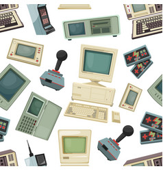 seamless pattern with different vintage computers vector image