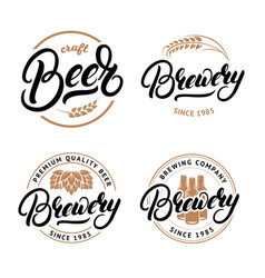 set beer and brewery hand written lettering vector image