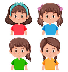 set brunette girl character vector image