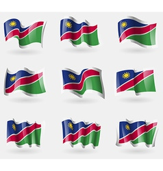 Set of Namibia flags in the air vector image
