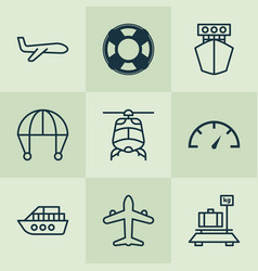 shipping icons set with helicopter yacht vector image