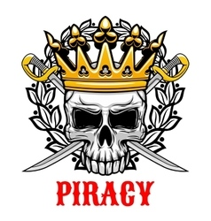 Skull with crown and sabres for piracy design vector