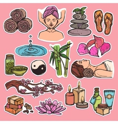 Spa sketch icons color vector image