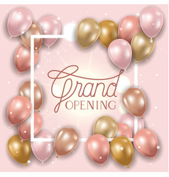 Square frame with grand opening message and vector