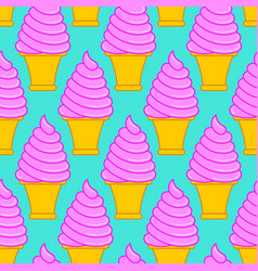 strawberry ice cream cone pattern large sweet vector image