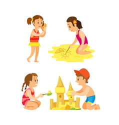 summer activity on beach people on sand vector image