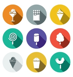 Sweets and ice cream flat icon set vector image