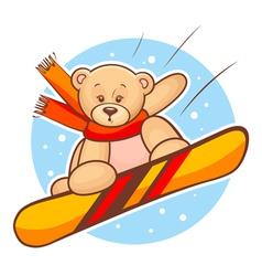Teddy bear snowboarding vector
