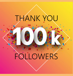 Thank you 100k followers spectrum card with vector