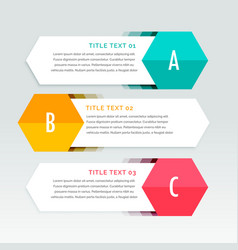 three steps colorful infographics template vector image