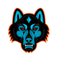 Timber wolf head sports mascot vector