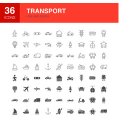 transport line web glyph icons vector image