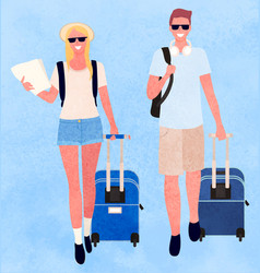 traveling man and woman couple with bags luggage vector image