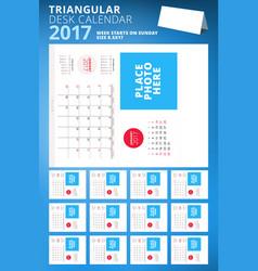 triangular desk calendar planner for 2017 year vector image