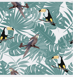 tropical seamless pattern with toucan parrot vector image