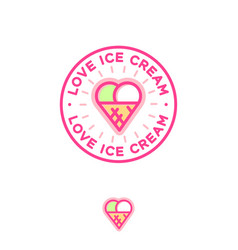 two scoops ice cream and waffle cone as heart vector image