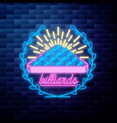 Vintage billiard emblem glowing vector