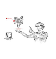 Vr wireframe headset man with intestine vector