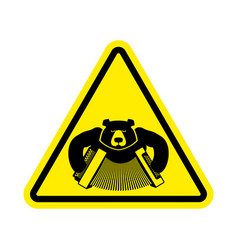 warning russia bear with accordion with yellow vector image