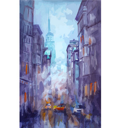 watercolor and pastel painting of street vector image