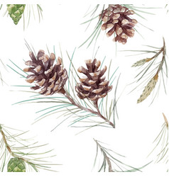 Watercolor fir cone pattern vector