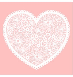 White lacy heart on pink background vector