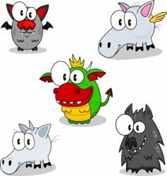 creatures of fantasy vector image vector image